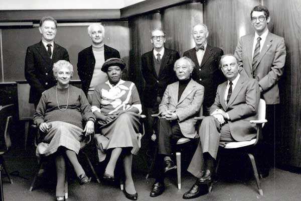 Maya Angelou with the 1986 Neustadt Jury (seated, left to right): Margherita Guidacci, Maya Angelou, Shuichi Kato, former WLT editor in chief Ivar Ivask; (standing, left to right) Sigurdur Magnússon, Adolf Muschg, José Luis Cano, Gregory Rabassa, Anthony Rudolf. Not pictured: Iordan Chimet, Mordecai Richler.