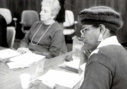 Maya Angelou and Margherita Guidacci participate in the Neustadt Prize deliberations.