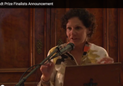 Kathy Neustadt announcing the 2016 Neustadt Prize finalists