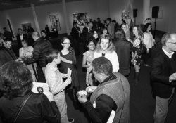 2017 Neustadt Festival Opening Night. Guests mingle at a reception at the Fred Jones Jr. Museum of Art