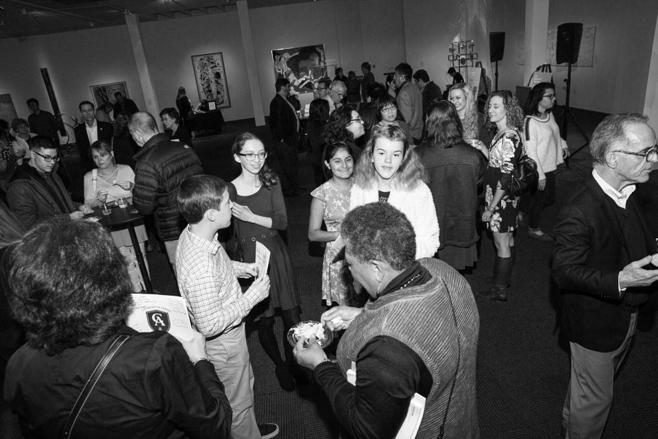 2017 Neustadt Lit Fest Opening Night. Guests mingle at a reception at the Fred Jones Jr. Museum of Art