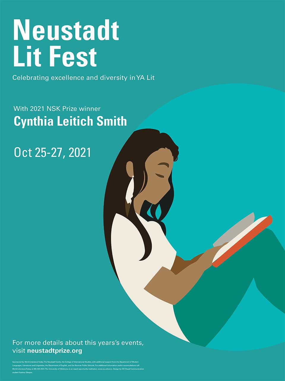 The prize winning poster design for the 2021 Neustadt Lit Fest